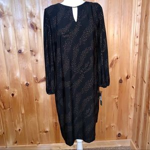 Tahari long sleeve black dress with gold studs 12